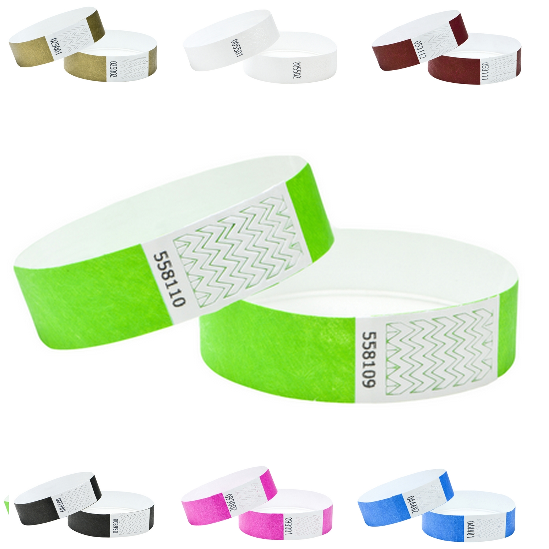 Tear-Resistant and Customisable Pack of 100 Tyvek Paper Bracelets 19 mm for Events 19mm red Festivals